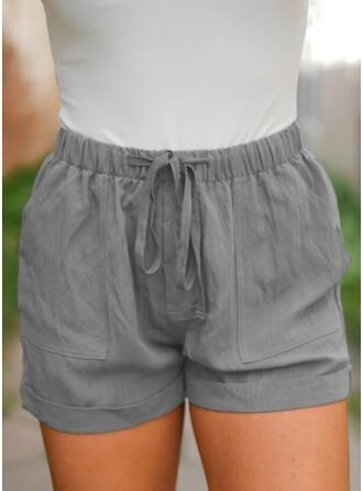 Solid fickor Extra stor storlek Ovanför knäet Boho Fritids Shorts