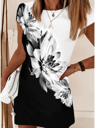 Print/Floral/Color Block Short Sleeves Shift Above Knee Elegant Dresses
