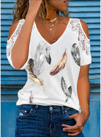 Print Feather Lace Cold Shoulder Short Sleeves Cold Shoulder Sleeve Casual Blouses
