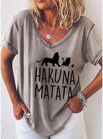 Djur V-ringning Korta ärmar Fritids T-shirts