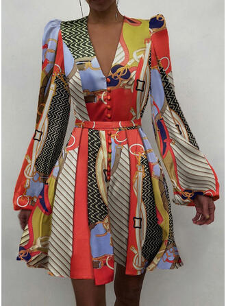 Print/Striped Long Sleeves/Puff Sleeves A-line Above Knee Elegant Skater Dresses