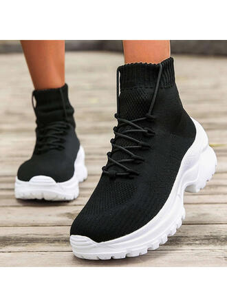 Women's Flying Weave Chunky Heel Ankle Boots Round Toe Sock Boots With Lace-up Elastic Band Solid Color shoes