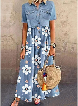 Print/Floral Denim Short Sleeves A-line Skater Casual Maxi Dresses