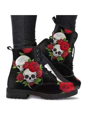 Women's PU Chunky Heel Boots Ankle Boots Martin Boots Low Top Round Toe With Lace-up Floral Print shoes