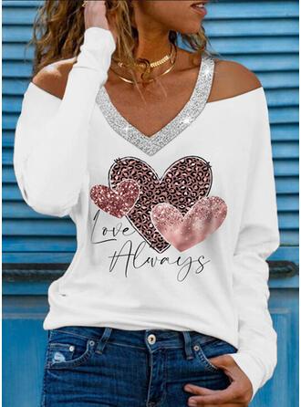 Leopard Heart Print Letter Sequins Cold Shoulder Long Sleeves T-shirts