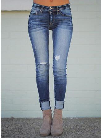Pockets Shirred Plus Size Long Sexy Skinny Denim & Jeans