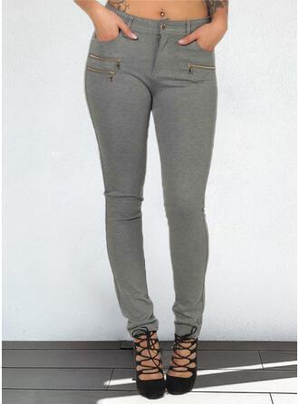Solid Long Casual Plus Size Pocket Button Pants