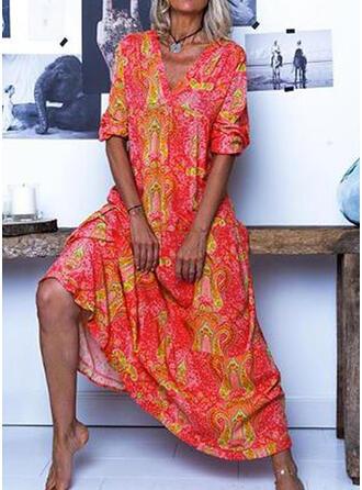Print 1/2 Sleeves Shift Casual/Boho/Vacation Maxi Dresses