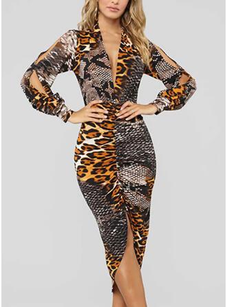 Leopard Långa ärmar/Kall axel Åtsittande Asymmetrisk Fritids Penna Klänningar