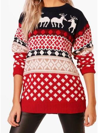 Kvinnor polyester Print Ren Ugly Christmas Sweater