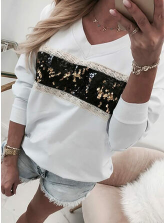 Sequins V-Neck Long Sleeves Sweatshirt