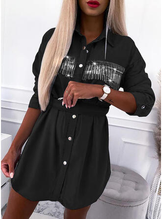 Solid Long Sleeves Shift Above Knee Casual Shirt Dresses