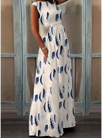Print Sleeveless A-line Skater Elegant Maxi Dresses