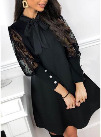 Solid Long Sleeves Shift Above Knee Little Black/Party/Elegant Dresses