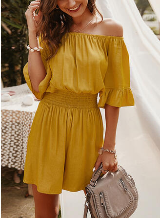 Solid Off the Shoulder 1/2 Sleeves Elegant Romper
