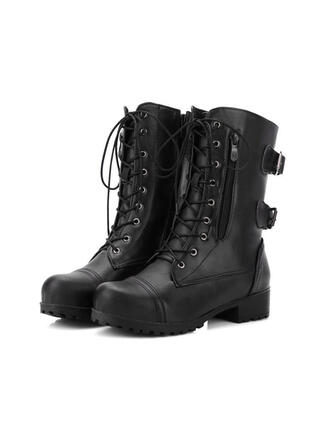 Women's PU Low Heel Mid-Calf Boots Martin Boots Round Toe With Lace-up Solid Color shoes