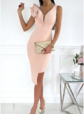 Solid Sleeveless Bodycon Knee Length Party/Elegant Dresses