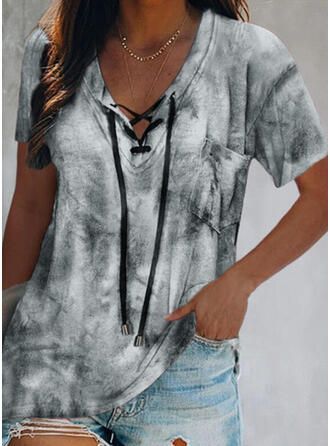 Tie Dye Lace-up V-Neck Short Sleeves Casual Blouses