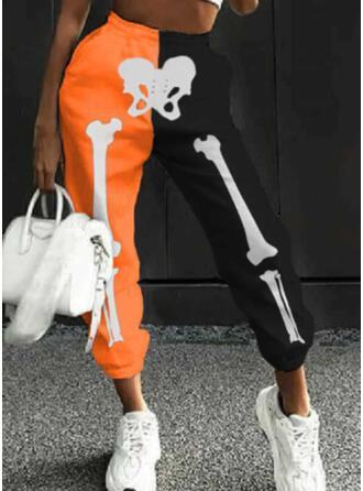 Color Block Print Skull head Long Casual Sporty Shirred Pants
