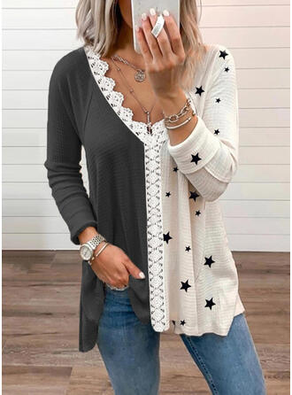 Print Color Block Lace Knit V-Neck Long Sleeves Casual Blouses