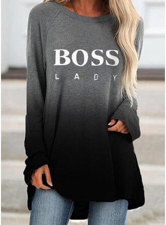 Print Figure Gradient Round Neck Long Sleeves Sweatshirt