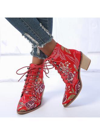 Kvinnor PU Tjockt Häl Boots Spetsad tå med Bandage Blomtryck skor