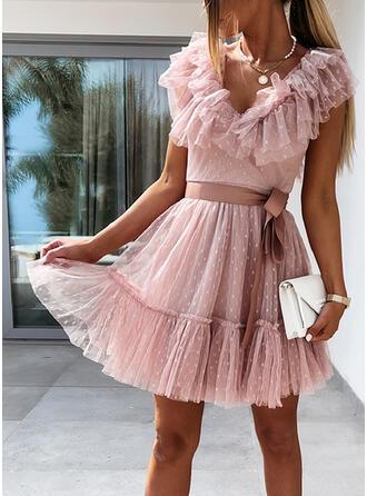PolkaDot/Backless Short Sleeves A-line Above Knee Elegant Skater Dresses
