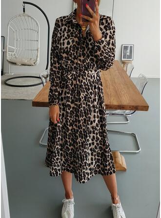 Leopard Long Sleeves A-line Shirt/Skater Casual Midi Dresses