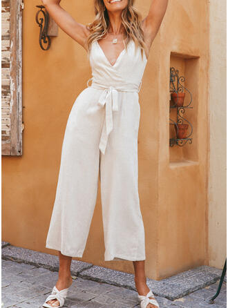 Solid V-Neck Sleeveless Elegant Jumpsuit