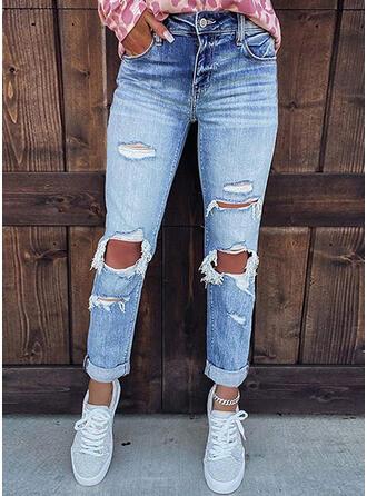 Solid Denim Long Casual Pocket Ripped Denim & Jeans