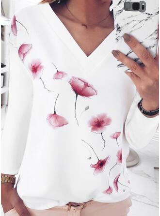 Floral Print V-Neck Long Sleeves T-shirts