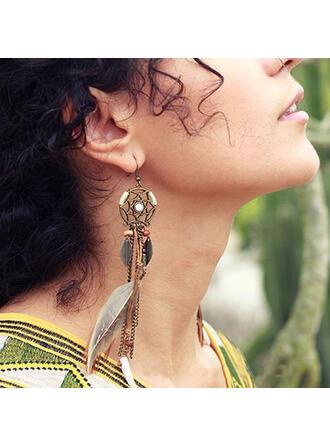 Boho Tassels Design Alloy Feather Women's Earrings