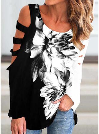 Color Block Floral Print Cold Shoulder Long Sleeves T-shirts