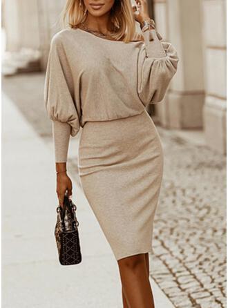 Solid Long Sleeves Lantern Sleeve Bodycon Knee Length Elegant Sweater/Pencil Dresses