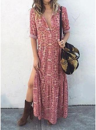 Print 1/2 Sleeves Shift Casual/Vacation Maxi Dresses