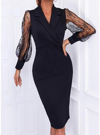 Solid Lace Long Sleeves Lantern Sleeve Sheath Pencil Little Black/Elegant Midi Dresses