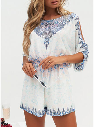 Print Round Neck 1/2 Sleeves Casual Boho Vacation Jumpsuit