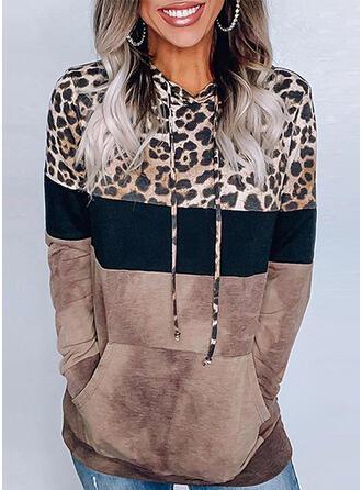 Print Color Block Leopard Hoodie Långa ärmar Fritids Blusar