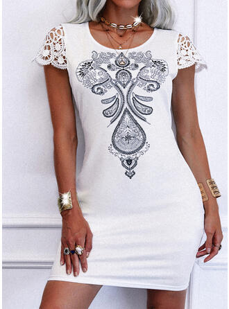 Lace/Print Short Sleeves Sheath Above Knee Casual Dresses