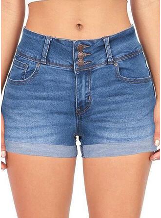 fickor Shirred Extra stor storlek Ovanför knäet Sexig Jeans Shorts