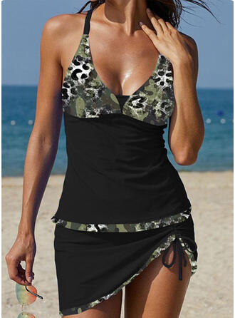 Camouflage Strap V-Neck Plus Size Casual Vacation Tankinis Swimsuits