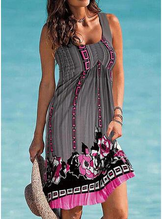 Splice color Tropical Print Strap High Neck Retro Casual Cover-ups Swimsuits