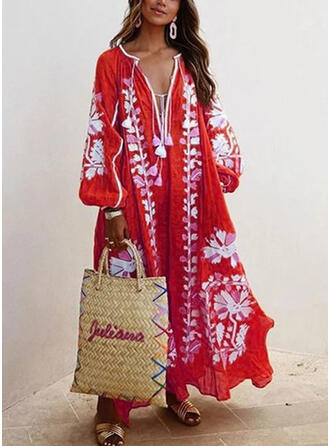 Print Long Sleeves Shift Casual/Vacation Maxi Dresses