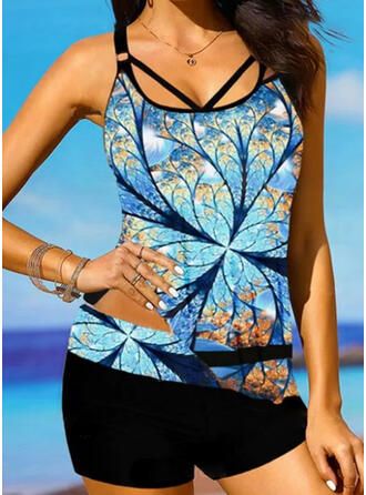 Floral Print Strap U-Neck Bohemian Plus Size Casual Tankinis Swimsuits