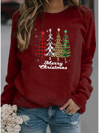 Christmas Print Leopard Plaid Letter Round Neck Long Sleeves Christmas Sweatshirt