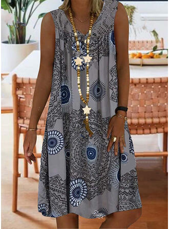 Lace/Print Sleeveless Shift Knee Length Casual/Boho/Vacation Tank Dresses