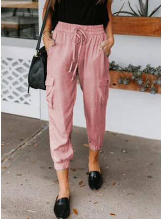Solid Pockets Drawstring Casual Elegant Lounge Pants