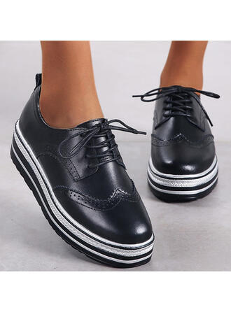 Women's Leatherette Flat Heel Flats Platform Round Toe With Lace-up Stripe shoes