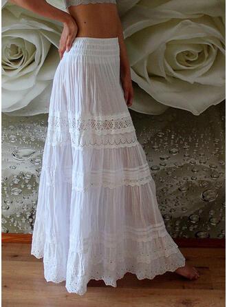 Cotton Blends Plain Floor Length A-Line Skirts