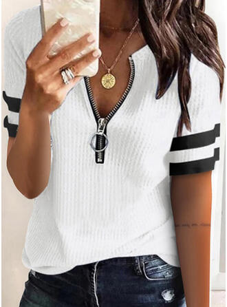 Color Block Lace V-Neck Short Sleeves Casual Blouses